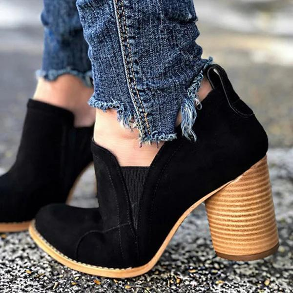 Chloebuy Elegant Slip On Chunky Heel Ankle Boots (Ship in 24 Hours)