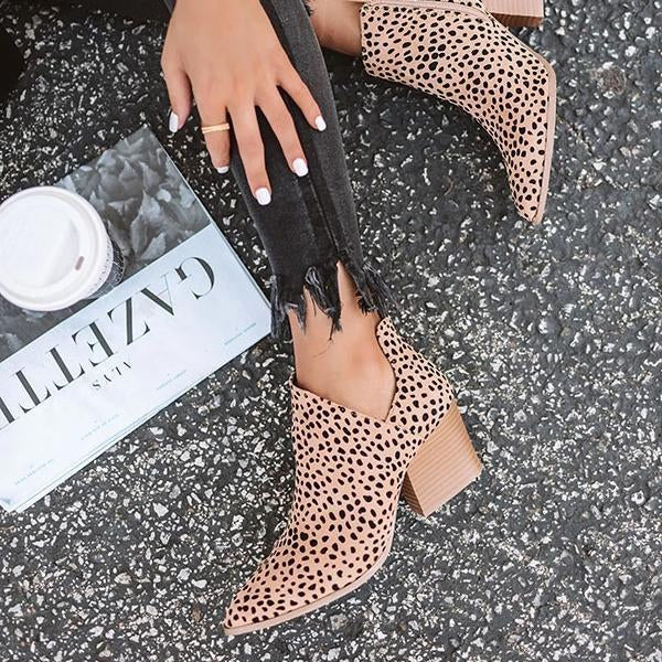 Chloebuy Marie Leopard Outside Cutouts Boots (Ship in 24 Hours)