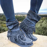 Chloebuy Women's Casual Flat Suede Fringe Round Toe Retro Boots