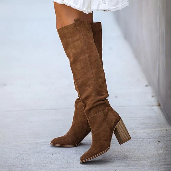 Chloebuy Distressed Faux Suede Slouch Boots