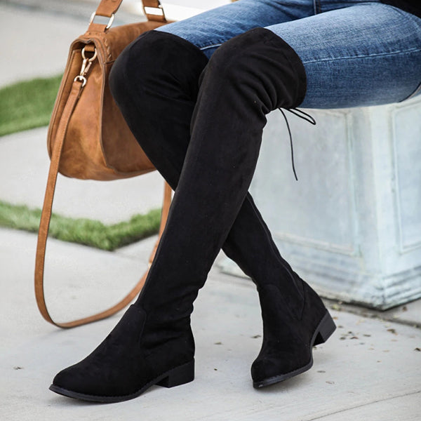 Chloebuy Faux Suede Over The Knee Boot