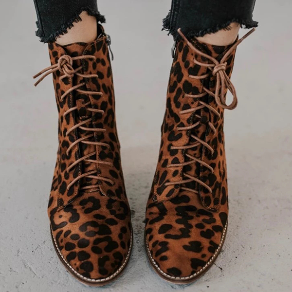 Chloebuy Lace up Point Toe Zipper Boots