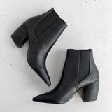 Chloebuy Classic Faux Leather Black Ankle Booties