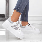 Chloebuy Women Fashion Lace-up Teddy Sneakers