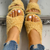 Chloebuy Solid Fluffy Flat Sandals