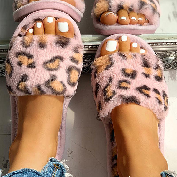Chloebuy Fluffy Leopard Open Toe Flat Slippers