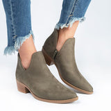 Chloebuy Women Fall V-Cut Booties