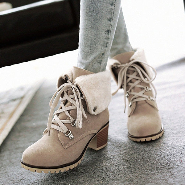 Chloebuy Woman Lace Up Ankle Block Boots