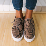 Chloebuy Women Snake Slip On Sneakers