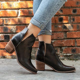 Chloebuy Women's Chunky Heel Closed Toe Boots