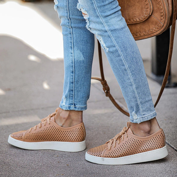 Chloebuy Faux Leather Perforated Sneakers