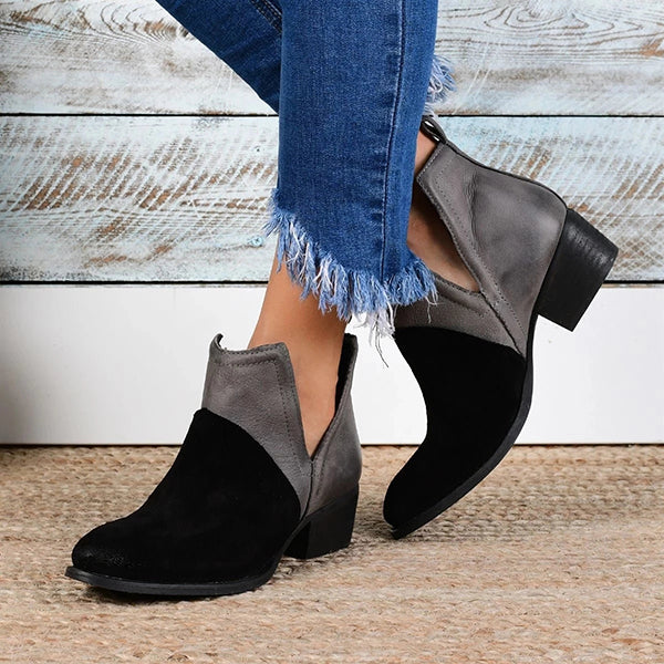 Chloebuy Faux Leather Two-Toned Booties