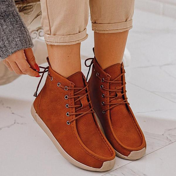 Chloebuy Women Comfy Lace-Up Casual Ankle Boots