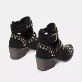 Chloebuy Women Casual Black Heeled Boots