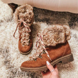 Chloebuy Women Warm Comfy Lace Up Booties