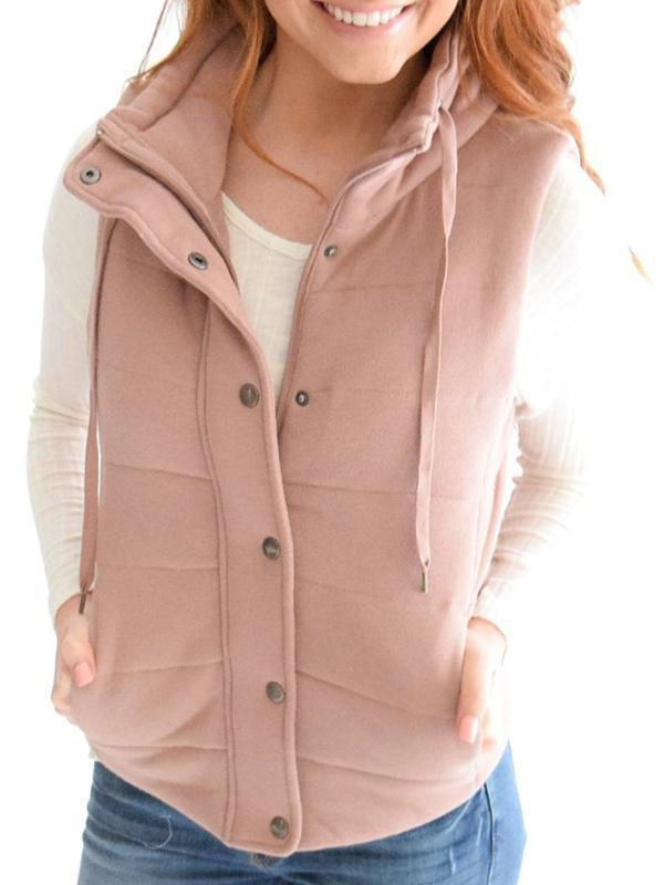 Chloebuy Drawstring Outerwear Casual Vest Tops