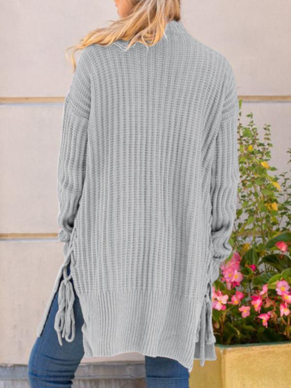 Chloebuy Solid color Long Sleeve Loose Knit  Cardigan Sweater