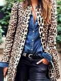 Chloebuy Women Fashion Stylish Medium length Leopard Coat