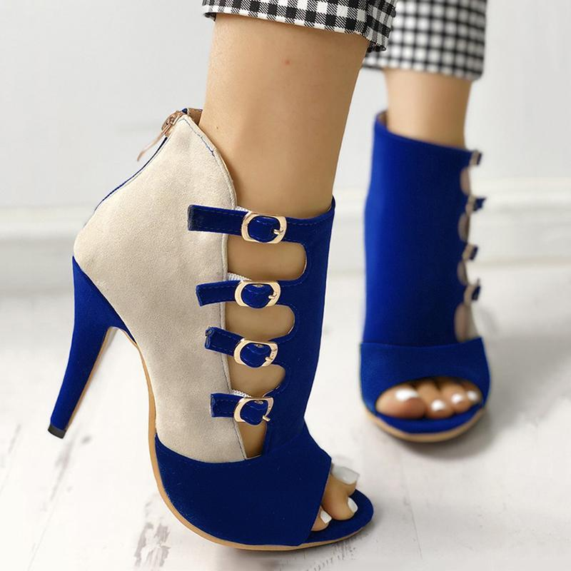 Chloebuy Colorblock Splicing Hollow Out Buckled High Heeled Shoes