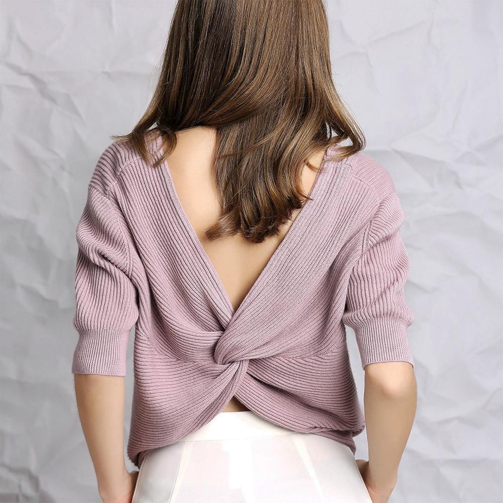 Chloebuy Fall Winter V-neck 1/2 Sleeve Stylish Sweater
