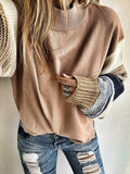 Chloebuy Khaki Crew Neck Long Sleeve Sweater