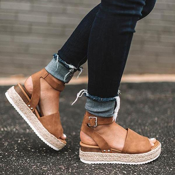 Chloebuy Espadrilles Ankle Strap Wedge Sandals