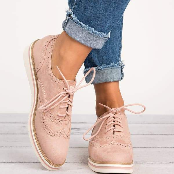 Chloebuy Lace Up Perforated Oxfords Shoes
