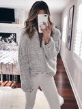 Chloebuy Women Fuzzy Long Pullover Sweater