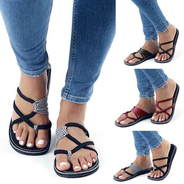 Chloebuy Oceanside Rope Flats Sandals