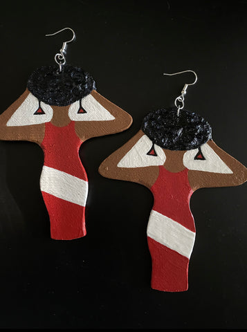 """Queen"" Earrings-Red"
