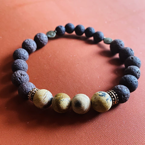 Men's Brown Lava Stone bracelet
