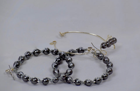 Wrapped earrings and bracelet set