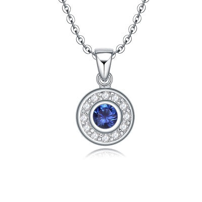Nano blue and clear cubic zirconia sterling silver necklace - Skyla Jewels Australia