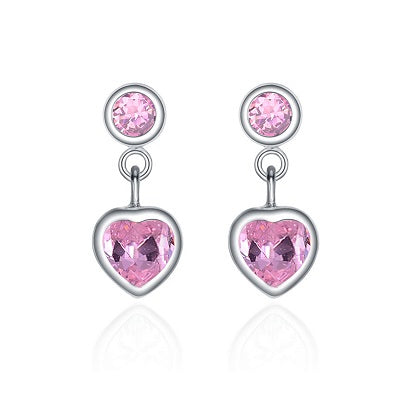 Sterling Silver Pink Cubic Zirconia Drop Earrings - Skyla Jewels Australia