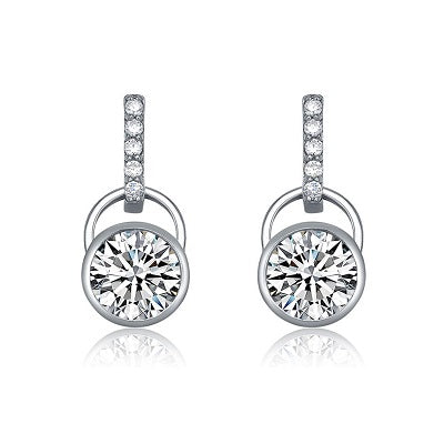 Sterling Silver Round Cubic Zirconia Earrings - Skyla Jewels Australia