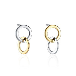 Sterling Silver Inter-linked Gold and Silver Earrings - Skyla Jewels Australia