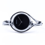 Skyla Jewels Tear Drop Silver Bangle Watch - Black Face with Silver Trim - Skyla Jewels Australia