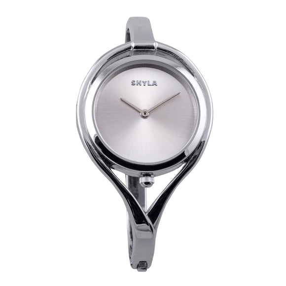 Skyla Jewels Tear Drop Silver Bangle Watch - Silver Face with Silver Trim - Skyla Jewels Australia