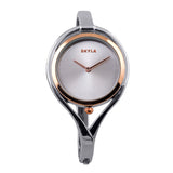 Skyla Jewels Tear Drop Silver Bangle Watch - Silver Face with Rose Gold Trim - Skyla Jewels Australia