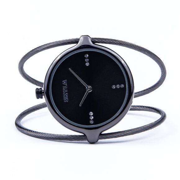Skyla Jewels Ladies Dual Strand Bangle Watch in Charcoal with Black Dial - Skyla Jewels Australia