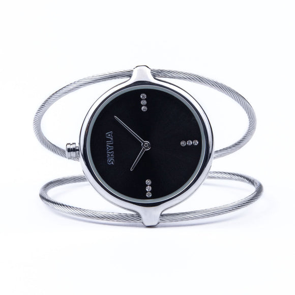 Skyla Jewels Ladies Dual Strand Bangle Watch in Silver with Black Dial - Skyla Jewels Australia