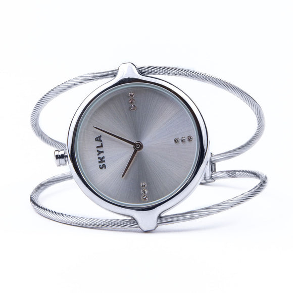 Skyla Jewels Ladies Dual Strand Bangle Watch in Silver with Silver Dial - Skyla Jewels Australia