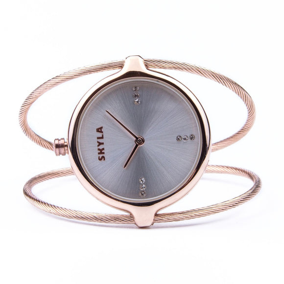 Skyla Jewels Ladies Dual Strand Bangle Watch in Rose Gold with Silver Dial - Skyla Jewels Australia