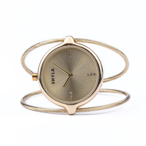 Skyla Jewels Ladies Dual Strand Bangle Watch in Gold with Gold Dial - Skyla Jewels Australia