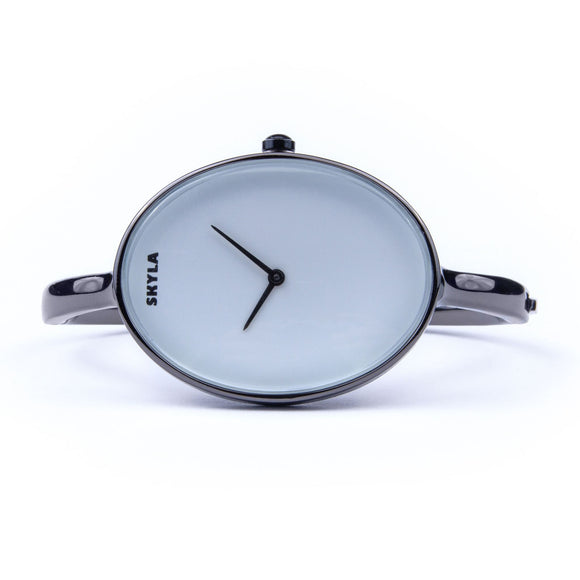 Skyla Jewels Ladies Oval Bangle Watch in Black with White Dial - Skyla Jewels Australia