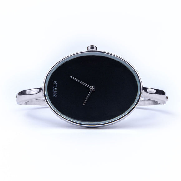 Skyla Jewels Ladies Oval Bangle Watch in Silver with Black Dial - Skyla Jewels Australia