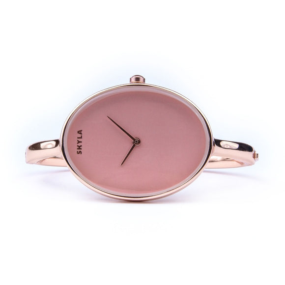 Skyla Jewels Ladies Oval Rose Gold Bangle Watch with Rose Gold Dial - Skyla Jewels Australia