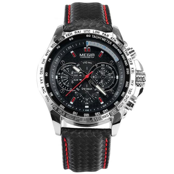 Megir Luxury Mens Leather Watch - Black face - Skyla Jewels Australia
