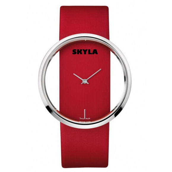 Hollow Round Face Red Watch. - Skyla Jewels Australia