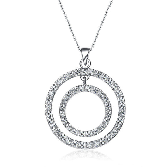 Double circle sterling silver cubic zirconia necklace - Skyla Jewels Australia
